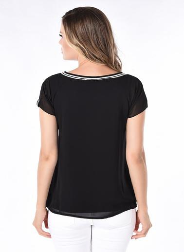 WHIP Design Düz Kayık Yaka Kısa Kol Şifon Bluz Siyah